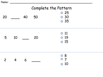 Number Pattern Assessment