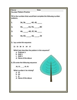 Number Pattern Assessment and 5 days of Worksheets