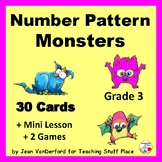 Number Pattern MONSTERS Task Cards   Mini Lesson  SCOOT  REVIEW   Gr 3 MATH