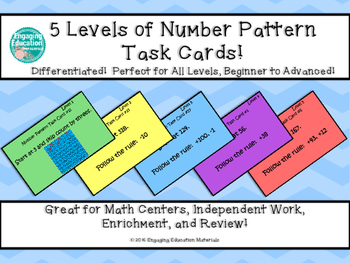 Number Pattern Task Cards – 5 Differentiated Levels!