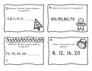 Number Pattern Task Cards - Christmas Themed