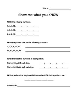 Number Patterning Pre-Assessment