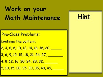 Basic Math Skills-Patterns - Number Patterns (worksheet included) (ACTIVE BOARD)