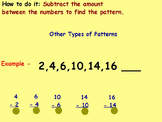 Basic Math Skills-Patterns - Number Patterns (worksheet included) (ACTIVE BOARD)