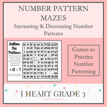 Number Pattern Mazes for Increasing and Decreasing Number Patterns