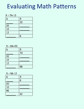 Evaluating Number Patterns