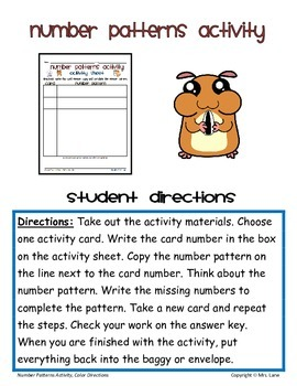 Number Patterns Activity