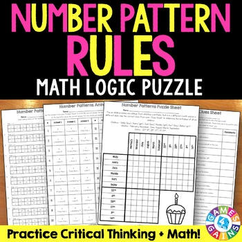 Number Patterns Activity: Number Pattern Rules Logic Puzzle {5.OA.3}