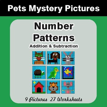 Number Patterns: Addition & Subtraction - Color By Number Mystery ...