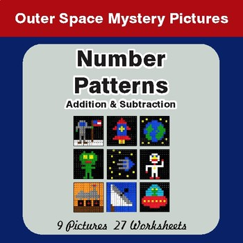 Number Patterns: Addition & Subtraction - Color-By-Number Mystery Pictures