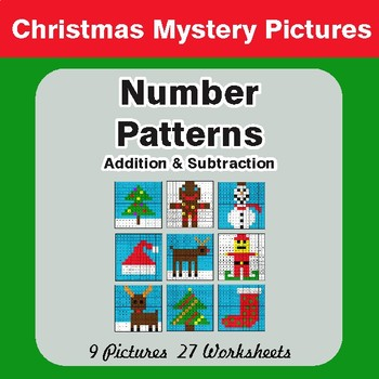 Number Patterns: Addition & Subtraction - Color By Number Math Mystery Pictures