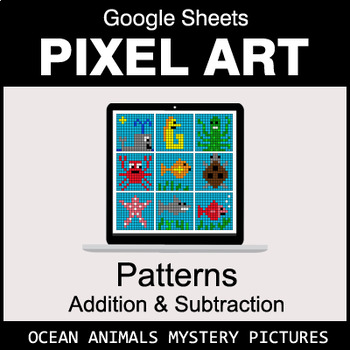 Number Patterns: Addition & Subtraction - Google Sheets - Ocean Animals