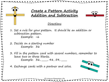 Number Patterns Addition and Subtraction:  Practice Activities and Centers