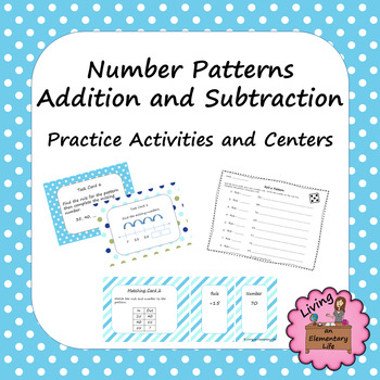 Number Patterns Addition and Subtraction:  Practice Activi