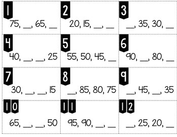 Number Patterns Counting Backward by 5s up to 100 Tiny Task Cards