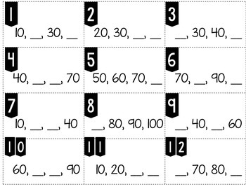 Number Patterns Counting Forward by 10s up to 100 Tiny Task Cards