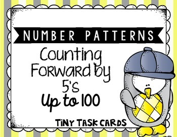 Number Patterns Counting Forward by 5s up to 100 Tiny Task Cards