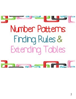 Number Patterns: Finding Rules & Extending Tables