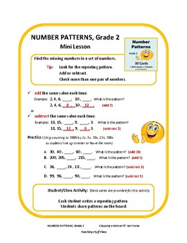 Number Patterns | TASK CARDS | Mini Lesson | Missing Numbers | CORE Gr 2 MATH