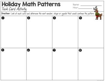 Number Patterns - Holiday Reindeer Task Cards