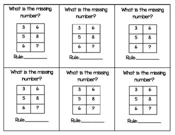 Number Patterns, Input Output Tables