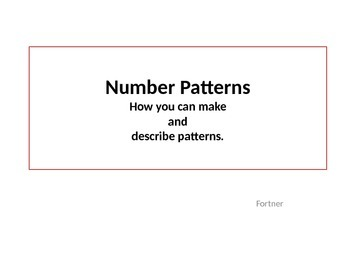 Number Patterns, Make and Describe PowerPoint with Worksheet