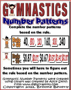 Number Patterns Math Learning Center (Gymnastics Theme)