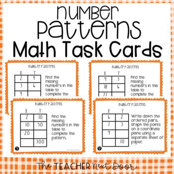 Number Patterns Task Cards for 5th Grade