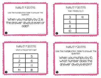 Number Patterns Math Task Cards for 3rd Grade