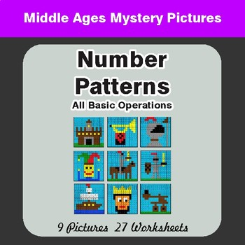 Number Patterns: Misc Operations - Color-By-Number Mystery Pictures