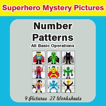Number Patterns: Misc Operations - Color-By-Number Math Mystery Pictures