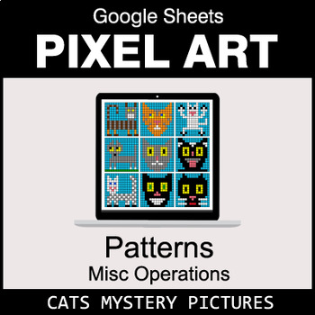 Number Patterns: Misc Operations - Google Sheets Pixel Art - Cats