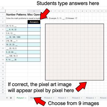 Number Patterns: Misc Operations - Google Sheets Pixel Art - Ocean Animals