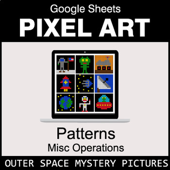 Number Patterns: Misc Operations - Google Sheets Pixel Art - Outer Space