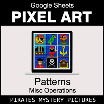 Number Patterns: Misc Operations - Google Sheets Pixel Art - Pirates