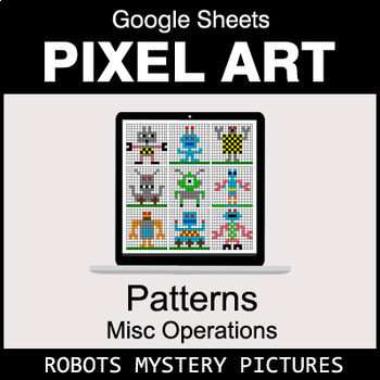 Number Patterns: Misc Operations - Google Sheets Pixel Art - Robots