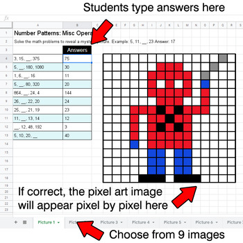 Number Patterns: Misc Operations - Google Sheets Pixel Art - Superhero