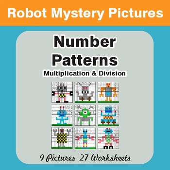 Number Patterns: Multiplication & Division - Color-By-Number Math Mystery Pictures