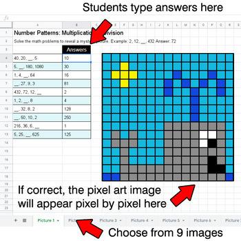 Number Patterns: Multiplication & Division - Google Sheets Pixel Art