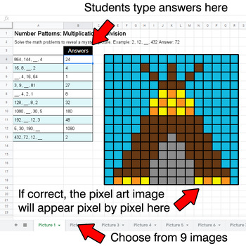 Number Patterns: Multiplication & Division - Google Sheets Pixel Arts