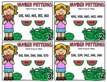 Number Patterns Skip Counting Task Cards 2nd Grade