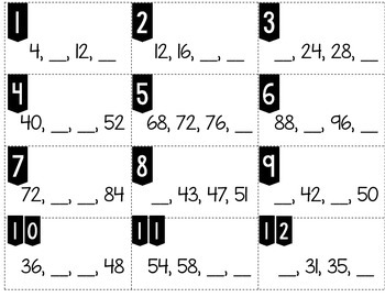 Number Patterns Skip Counting by 4 Tiny Task Cards