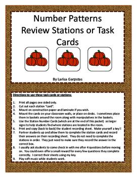Number Patterns - Stations or Task Cards