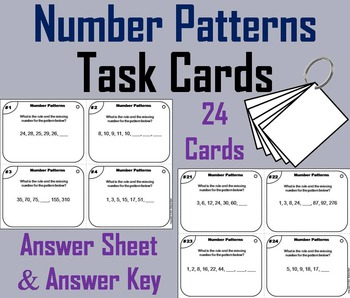 Number Patterns Task Cards/ Number Sequence Activity 3rd 4