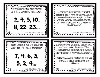 4th Grade Task Cards | Number Patterns 4.OA.5