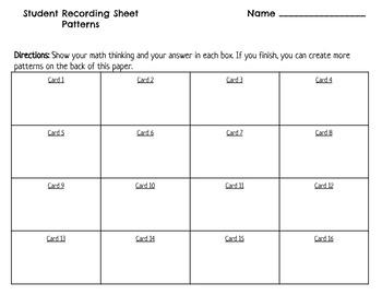 Number Patterns Task Cards SOL 3.16