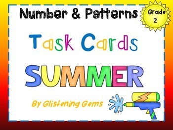 Second Grade Math Task Cards - Summer Theme