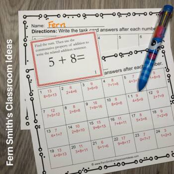 3rd Grade Go Math 1.1 Number Patterns Task Card Commutative Property of Addition