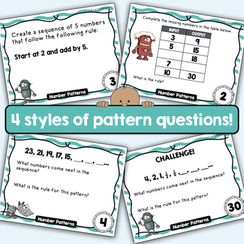 Number Patterns Task Cards - with bonus Smart Notebook file!  - CCSS  4.OA.C.5