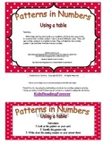 Number Patterns- Using a table